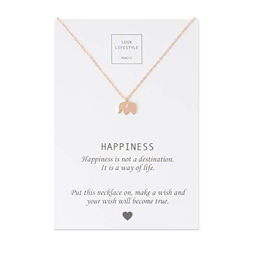 LUUK LIFESTYLE Collar de Acero Inoxidable con Colgante de Elefante y Cita Happiness, Joya de Mujer, Tarjeta de Regalo, Amuleto, Rosa