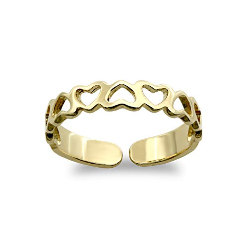 Jewelco London Ladies Solid 9ct Yellow Gold Love Hearts Pattern Toe Ring