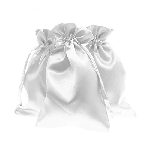 """Knitial 5"""" x 8"""" Satin White Gift Bags, Jewelry Bags, Wedding Favor Drawstring Bags Baby Shower Christmas Gift Bags 50 per Pack"""
