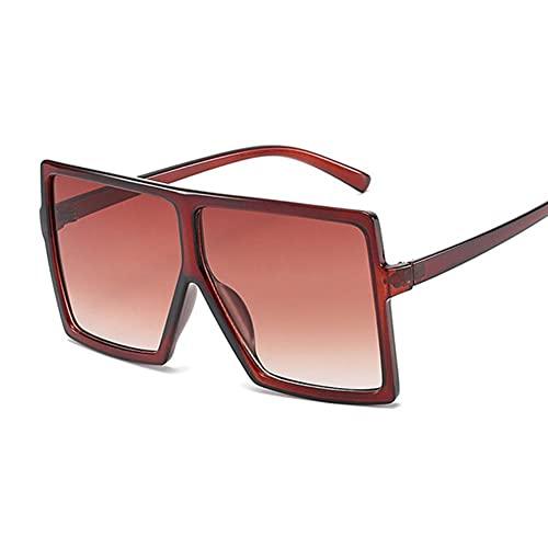 Sonnenbrille Damen Sonnenbrille Frauen Wohnung Top Square Luxus Sonnenbrille Vintage Uv400 Sonnenbrille Shades Brille-Dark Brown