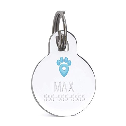 Pet Notify Intellitag - Smart Pet ID Tag Animal Recovery System Personalized Stainless Steel Tag Engraved Pet's Name & Digital ID - Web Enabled PetVault App - Owner Contact & Protection - Dogs & Cats