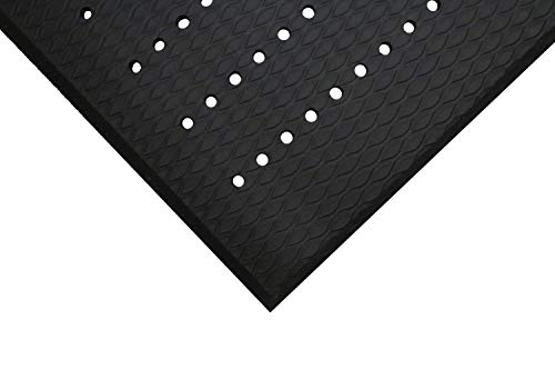 M+A Matting 413 Charcoal Nitrile/PVC Foam Cushion Max Anti-Fatigue Mat with Hole, 5' Length x 3' Width, for Indoor