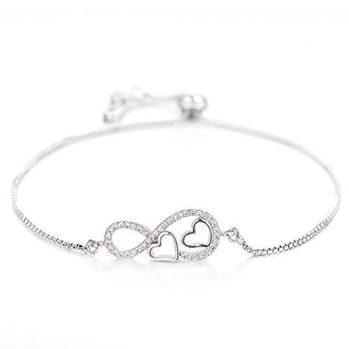 Armband Armreif Armkette Romantische Doppelherz Charme Armband Liebhaber Paar Frauen Trendy Forever Love Infinity Armbänder Armreifen Schmuck SIL