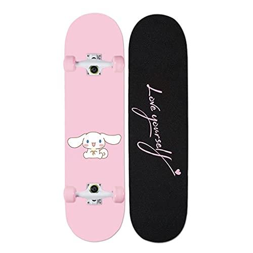 Lgan Skateboard Erwachsene, 31x8in Ahorn Longboard Kinder, Anfänger Skateboard Deck, Mädchen Pennyboard (Color : FF)
