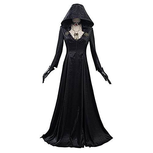 XILIN-1987 Capa Halloween para Adultos Cosplay Disfraz Vampire Lady Dress Outfits Halloween Cloak Carnival Traje para Mujeres Adultas, Color: Negro Capa Infantil Halloween (Size : A-XL)