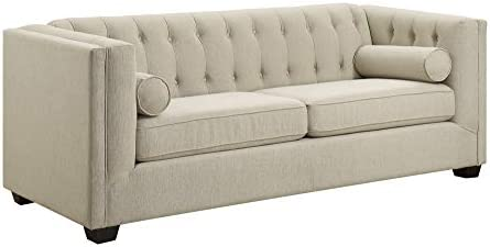 Best Cairns Stationary Sofa with Tufted Back and Lumbar Pillows Oatmeal