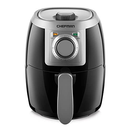 Chefman TurboFry 2-Quart Air Personal Compact Healthy Fryer w/Adjustable Temperature Control, 60 Minute Timer and Dishwasher Safe Basket, Black