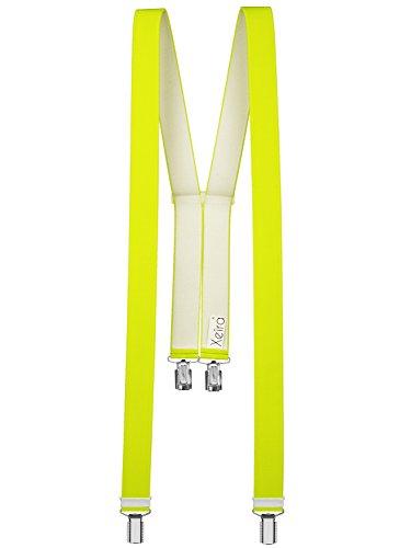 Xeira Hochwertige Hosenträger in Trendigen Neon Farben mit 4 Clips-Neon Gelb