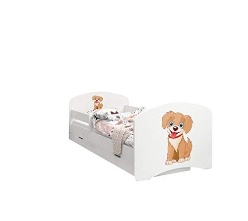 Happy Babies – Letto per Bambini Double Face con cassetto Estraibile, Design Moderno con Bordi sicuri e Materasso in Schiuma anticaduta, 7 cm (13. Cane, 190x90)