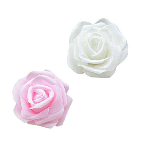 F Fityle 100pcs/Pack Foamrosen Schaumrosen Rosenkopf Rose Kunstliche Blumen Hochzeitsdeko - Creme + Rosa