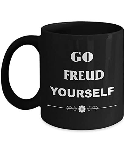 N\A IR Freud Yourself - Taza de psicólogo - Negro - Taza de café Taza de té Novedad Divertida Cerámica para Abuela Abuelo Abuela Abuelo Gracias N03UHQ