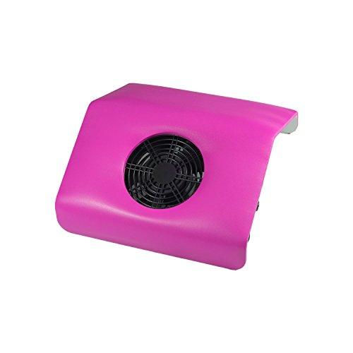 N&BF Staubabsaugung Lederimitat Pink/Rosa | Profi Nagelstudio Tischabsaugung geräuscharm | leicht auswechselbarer Staubbeutel | Nagel Staubabsauger für Maniküre & Pediküre