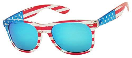 ShadyVEU Patriotic American Flag Clear Round Retro Blue Mirrored Stars Stripes 4th of July Sunglasses (Blue Mirrored Lens)