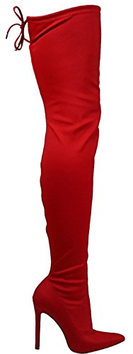Liliana Gisele-50A Pointy Pointed Toe Lycra Thigh High Over Knee Stiletto Heel Boot Red 9