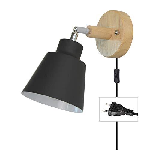 MBWLKJ Lámpara de pared con cable para enchufe, color negro, E27, de madera, con interruptor, moderna lámpara de lectura, lámpara de pared, foco interior con interruptor, para salón o dormitorio