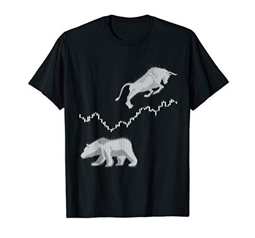 Aktienchart Candle Stick Bulle Bär Börse DAX Aktien Trader T-Shirt