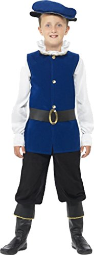 Smiffys Kinder Fancy Kleid Tudor Mittelalter Boy Kostüm Jungen komplett Outfit Royal Blau, Blau