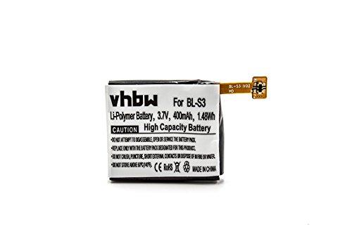 vhbw Litio-polimeri Batteria 400mAh (3.7V) per smartwatch Orologio Braccialetto Fitness LG G Watch R W110