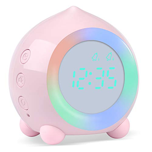 Kinderwecker Digitaler, Wecker Digital Sonnenaufgangssimulator Kinderwecker für Mädchen Jungen mit Bunte Lichter Leiser Wecker Ohne Ticken Schlafzimmer mit LED-Wecklicht & Nachtlichtlampe (Rosa)