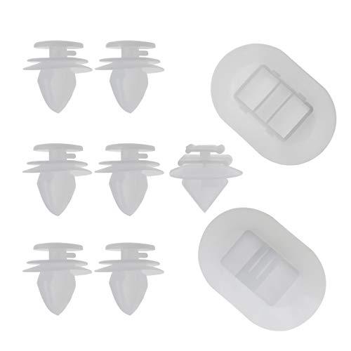 Kit de clips de fijación para faldón lateral de coche con cierre de plástico para paneles de ajuste automático 1610186180, color blanco, 9 unidades