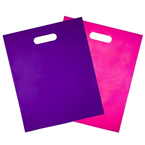 100 - Heavy Duty Purple and Hot Pink Glossy Merchandise Bags, Shopping Bags, 12 X 15 with Die Cut Handle, No Gusset, 2.0 Mil.