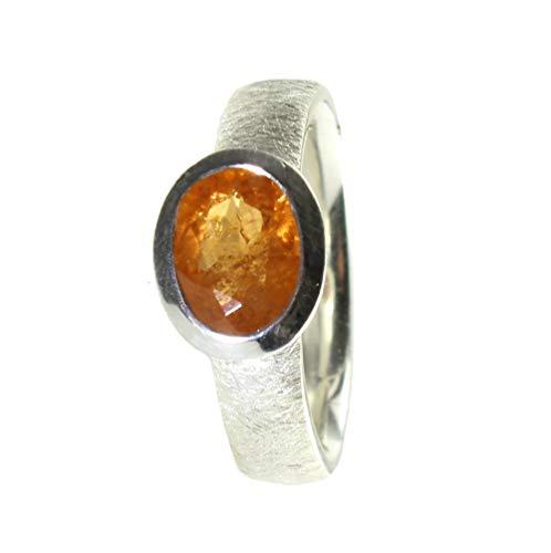 budawi® - Mandaringranat Ring 925er Silber gebürstet Fingerring Größe 56, Granatring