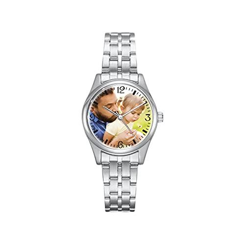 Relojes con Foto Personalizados, Relojes Personalizados, Relojes para Hombres, Relojes De Pareja, Relojes A Prueba De Agua, Relojes De Aleación, Relojes Plateados para Novios, Novias