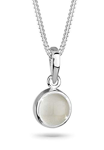 Elli Damen Schmuck Halskette Kette mit Anhänger Klassisch Mondstein Gemstone Natur Silber 925 Länge 45 cm