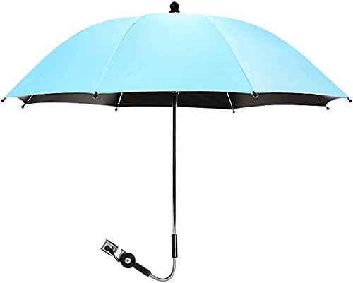 LIUPING Paraguas para Cochecito Universal 75CM Anti-UV UPF 50+ 360 ° Paraguas De Cochecito Ajustable Paraguas Sombrilla para Cochecitos (Color : Blue, Size : 85cm)