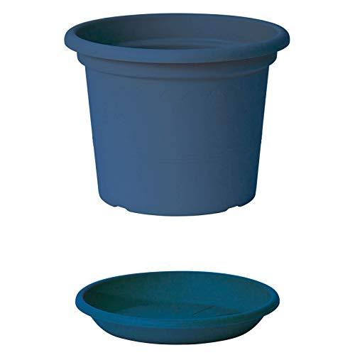EURO3PLAST Geo Blumentopf mit Untersetzer 12 Größen und 9 Farben zur Wahl (40 cm, Petrol-Blau)