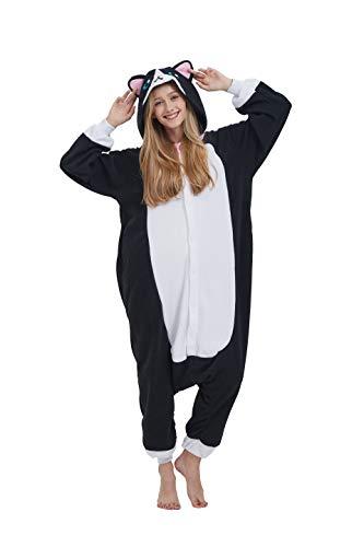 Kigurumi Kostüm Pyjama Onesie Tier Fasching Karneval Halloween Erwachsene Unisex Cosplay Schlafanzug, S für Höhe 140-158CM, Schwarze Katze