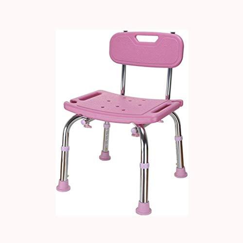 ZMDENG Non-Slip Shower Chair Aluminum Alloy Non-Slip Bathroom Bath Stool for Elderly Women and Children, Household Plastic Back Chair Comfortable