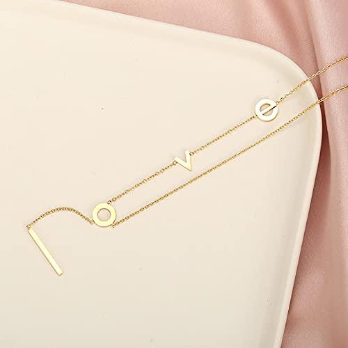 Collares Joyería Colgantes Collar con Colgante De Borlas con Letras De Amor Dulce para Mujer, Collares De Clavícula De Acero Inoxidable Exquisitos Sin