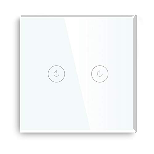 BSEED Interruptor wifi de pared Blanco,Interruptor inteligente de pantalla táctil de cristal 2 Gang 1 Way compatible con Tuya,Amazon Alexa, Google Home, iOS Android App