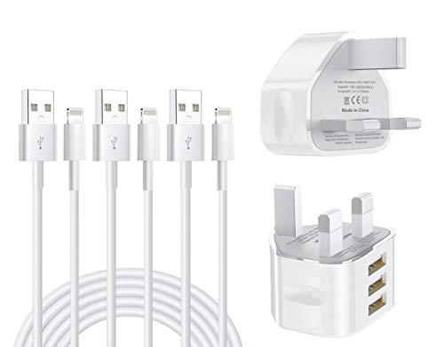 iPhone Charger Plug, MFi Certified 2 Pack 3 Ports with Quick iPhone Charger Plug, 3 Pack 1M Lightning Cable Compatible iPhone11 Pro Max/ XS Max/XR/X/8