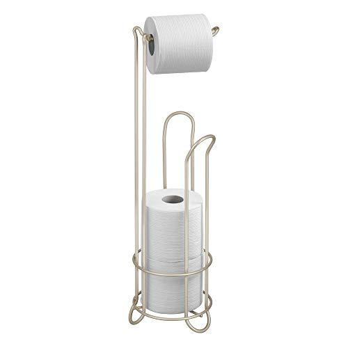iDesign Classico Klorollenhalter, Toilettenpapierhalter ohne Bohren aus Metall, mattsilberfarben