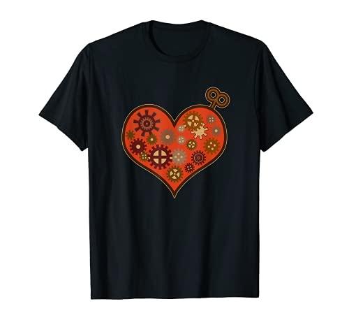 Amor Steampunk Reloj Corazón mecánico engranaje fantasía Camiseta