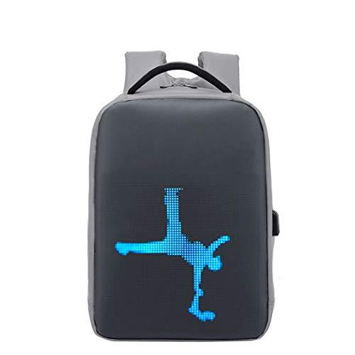 Intelligenter LED-Rucksack, intelligentes programmierbares LED-Display, 15,6-Zoll-Laptop-Tagesrucksack, wasserdicht, 20 l Schultaschen mit großer Kapazität und USB-Aufladung, für Schulreisen,Grau