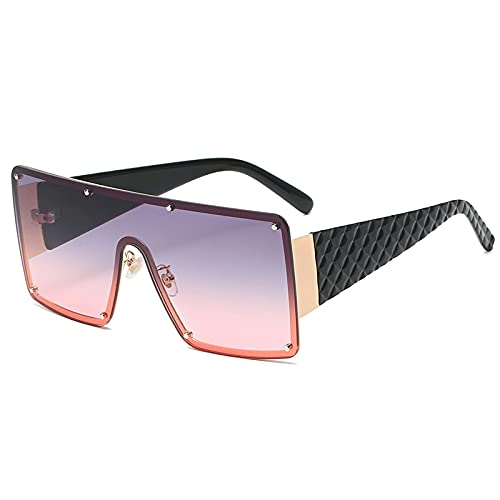 FENGHUAN Gafas de sol de lujo para hombres y mujeres, gafas de sol cuadradas de moda con parte superior plana, montura grande con personalidad a cuadros para hombre, tonos C5