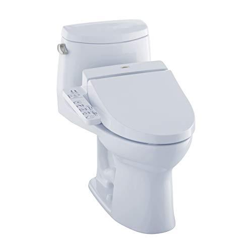 TOTO MW6042034CEFG#01 WASHLET+ UltraMax II One-Piece Elongated 1.28 GPF Toilet and WASHLET C100 Bidet Seat, Cotton White