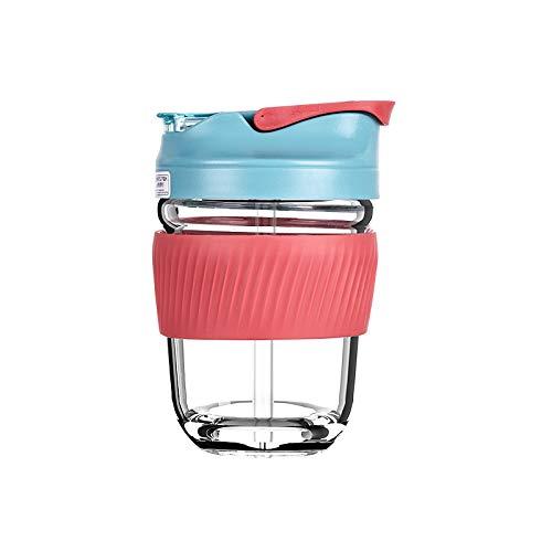 Xiaobing Taza de Agua portátil Linda de Vidrio de borosilicato Alto de Doble propósito en la Taza de café del vehículo-Rojo brillante-350ml