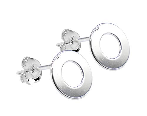 Ah! Jewellery Ladies 8mm Sterling Silver Stud Earrings. Stamped 925. Appealing Open Circle Design. 10 Year Guarantee.