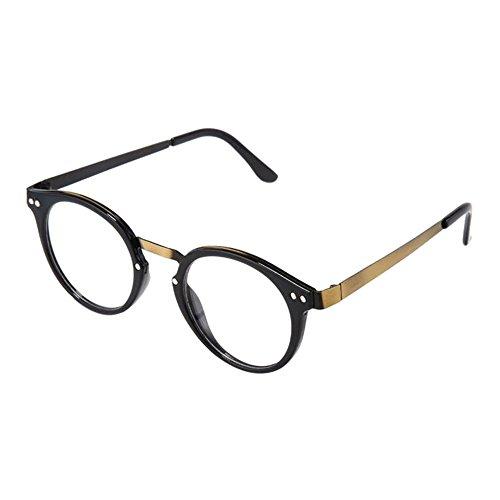 Meijunter Mode Retro Brille Runde Metall Rahmen Feder Scharnier Klare Linse Optische Gläser für Herren Damen