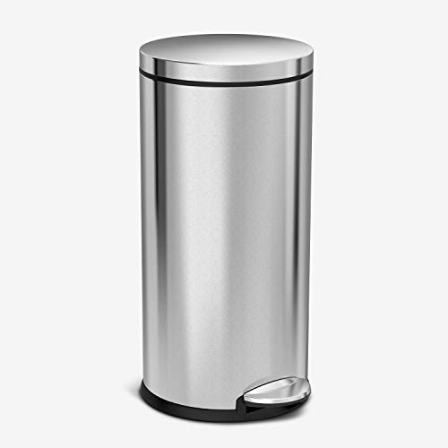 simplehuman 30 Liter / 8 Gallon Stainless Steel Round Kitchen Step Trash Can, Brushed Stainless Steel