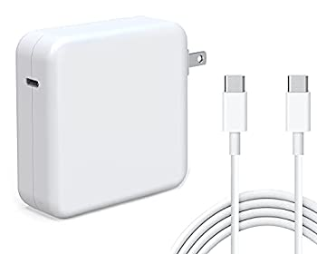 Tissyee 61W USB C Power Adapter Compatible with MacBook Pro Charger for MacBook Pro 13 15 16 inch 2020 2019 2018 New Air 13 inch,Works with 61W 30W Included USB-C to USB-C Charge Cable  6.6ft/2m