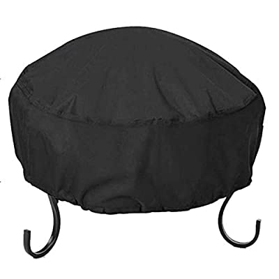 YIYUAN Fire Pit Cover Round 34X16 Inch Waterproof 210D Oxford Cloth Heavy Duty Round Patio Fire Bowl Cover Round Firepit Cover Black from YIYUAN