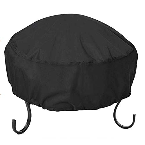 Binchil Fire Pit Cover Round 34X16 Inch Waterproof 210D Oxford Cloth Heavy Duty Round Patio Fire Bowl Cover Round Firepit Cover Black