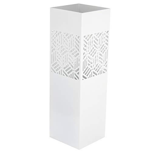 Paraplu Stand Vierkant wit Design kubussen met Haak voor Kleine Paraplu 15,5 x 15,5 x 49 cm