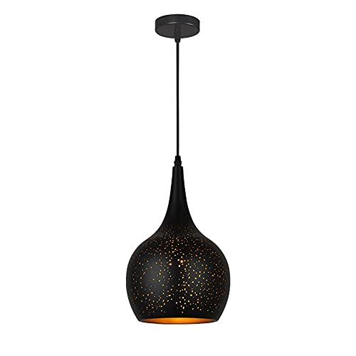 E27 Candelabro de fuente de luz Lámpara colgante de personalidad simple Lámpara de hierro forjado hueco con colgante Retro Industrial Droplight Accesorio de iluminación colgante de un solo cabezal Ilu