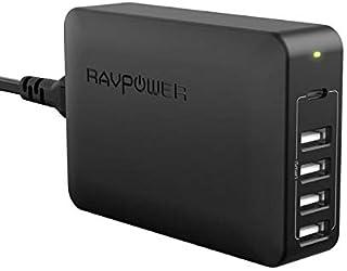 راف باور منصة شحن اسود ب 4 منافذ USB ومنفذ USB-C بتقنية PD بقوة 60 واط